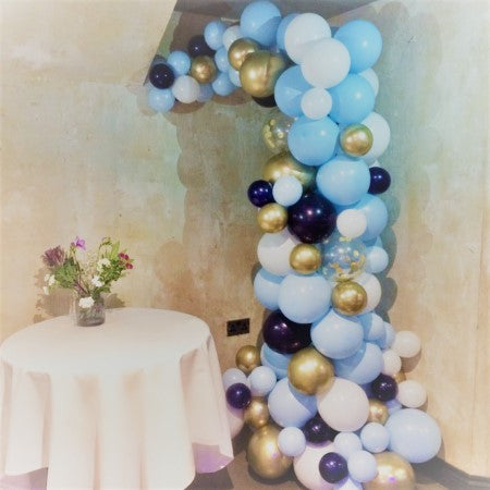Pale Blue, Navy Blue and Chrome Gold Organic Balloon Arch I First Birthday Party I My Dream Party Shop