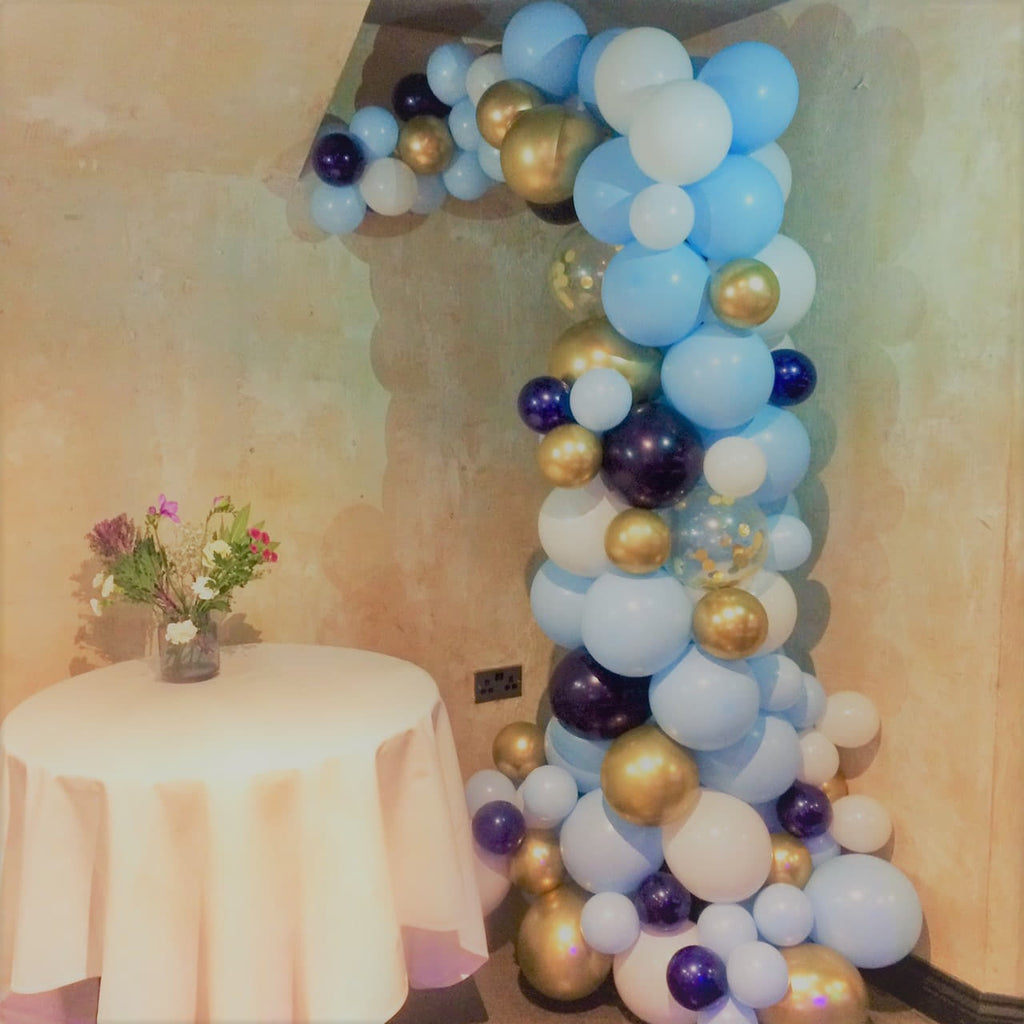 Organic Pale Blue and Gold Balloon Arch