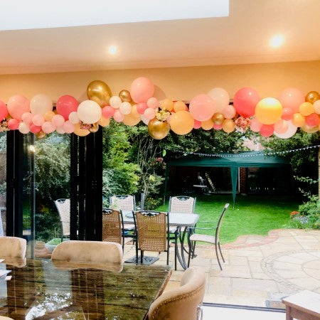 Pink, Blush and Chrome Gold Balloon Installation Eastcote I My Dream Party Shop