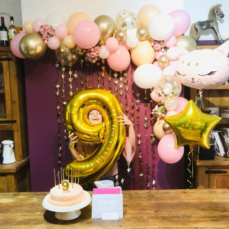 Pink, White and Chrome Gold Balloon Garland Installation I 9 Year Old Party I My Dream Party Shop Ruislip