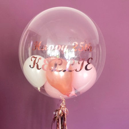 Happy Birthday Kellie Bespoke Rose Gold and Pink Bubble Balloon I My Dream Party Shop Ruislip