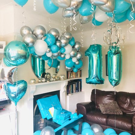 Chrome Silver and Tiffany Blue Balloon Garland I Balloon Garland Installation Ruislip I My Dream Party Shop