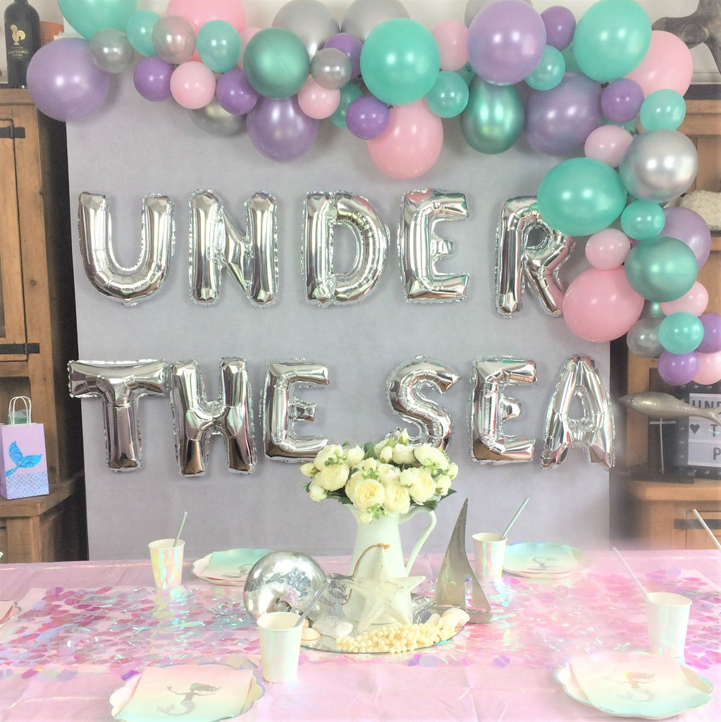 Under the Sea Silver Balloon Phrase Backdrop I Under the Sea Party Blog I My Dream Party Shop I UK