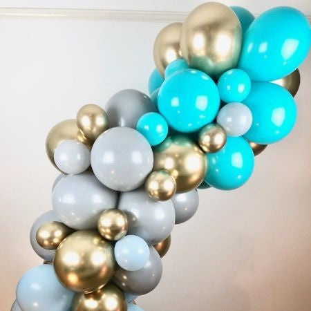 Tiffany Blue, Grey and Chrome Gold Organic Balloon Arch
