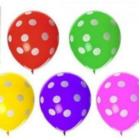 10 Pack of 12 Inch Multi Coloured Polka Dot Latex Balloons - My Dream Party Shop