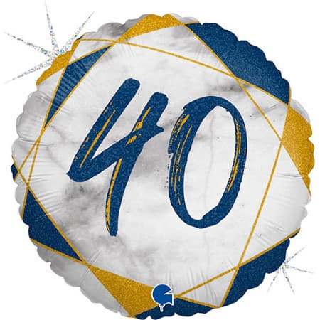 Navy and Gold 40th Birthday Balloon I Milestone Birthday Decorations I My Dream Party Shop UK