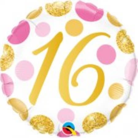Age 16 Pink and Gold Dots Balloon I 16th Birthday Party Supplies I My Dream Party Shop UK