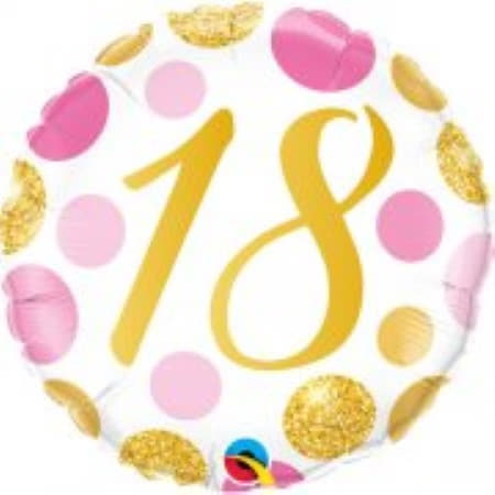 Age 18 Pink and Gold Dots Balloon I Modern 18th Birthday Party Supplies I My Dream Party Shop UK
