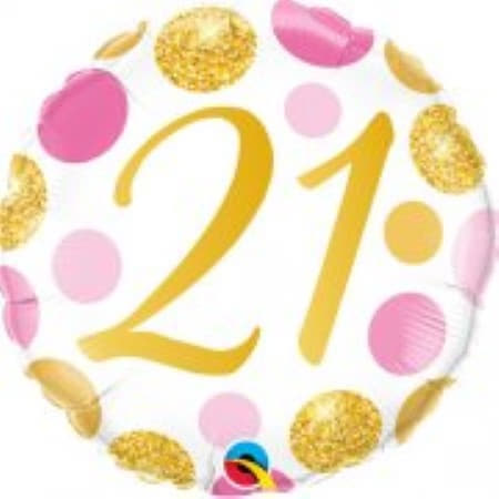 Age 21 Pink and Gold Dots Balloon I 21st Birthday Party Decorations I My Dream Party Shop UK