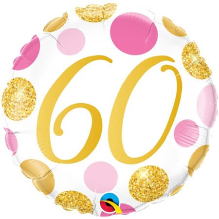 Age 60 Pink and Gold Dots Balloon I 60th Birthday Party Decorations UK