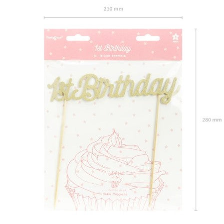 Gold Glittery First Birthday Cake Topper I My Dream Party Shop I UK