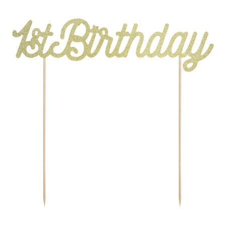 Glittery Gold 1st Birthday Cake Topper I My Dream Party Shop I UK