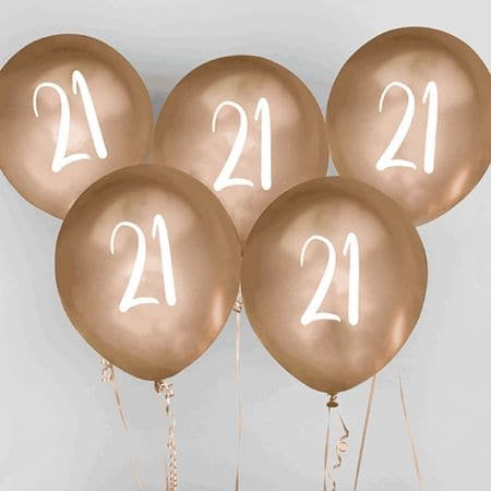21 Chrome Gold Balloons I 21st Birthday Party Decorations I My Dream Party Shop I UK