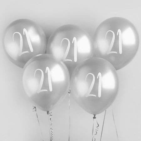 21 Silver Balloons I 21st Birthday Party Decorations I My Dream Party Shop I UK