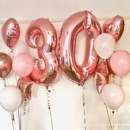 Helium Inflated Blush and Rose Gold Balloon Bouquet I Helium Balloons Ruislip
