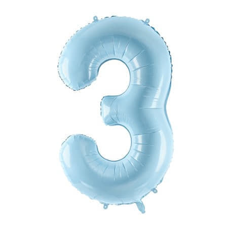 Gigantic Pale Blue Foil Number Three Balloon 34 Inches I Milestone Birthdays I My Dream Party Shop