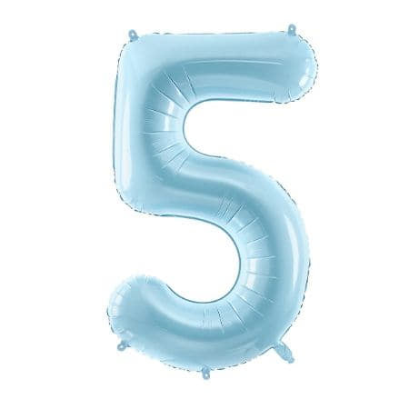 Gigantic Pale Blue Foil Number Five Balloon, 34 Inches