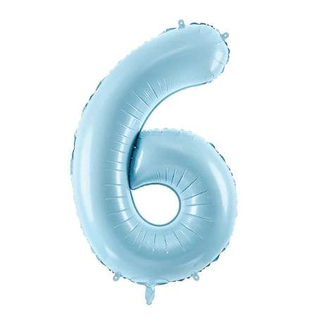 Blue Foil Number Six Balloon, 34 Inches