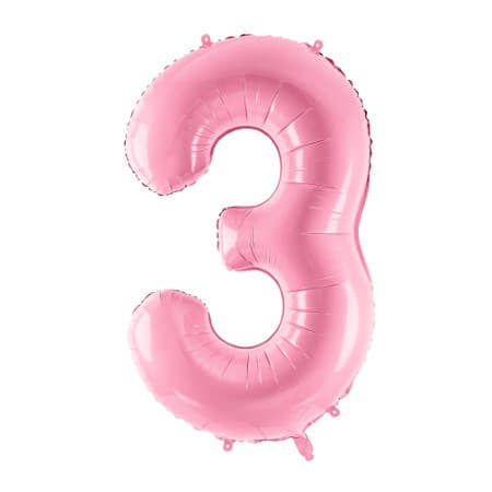 Gigantic Pale Pink Foil Number Three Balloon 34 Inches I Milestone Birthdays I My Dream Party Shop