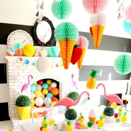 Ice Cream Honeycomb Decorations 30cm I Ice Cream Party Decorations I My Dream Party Shop I UK