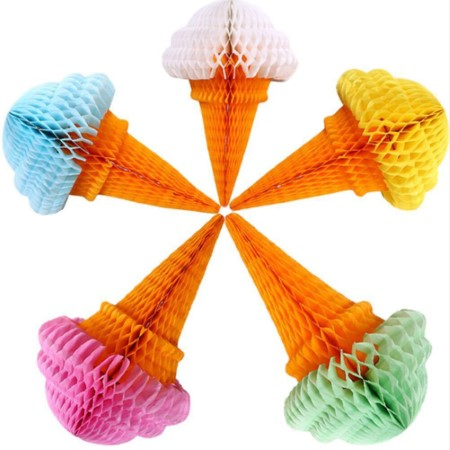5 Pack Ice Cream Honeycomb Decorations 30cm I Cool Ice Cream or Summer Party Decorations I My Dream Party Shop I UK