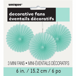 Mini Mint Green Tissue Paper Rosette Fans, Set of 3 - My Dream Party Shop