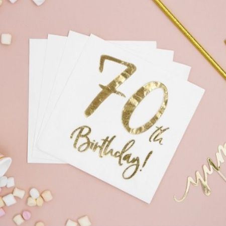 White and Gold 70th Birthday Napkins I 70th Birthday Party Supplies I My Dream Party Shop UK