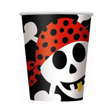 Black, Red and White Pirate Party Paper Cups I Skull & Crossbones I Cool Pirate Party Tableware & Decorations I My Dream Party Shop I UK