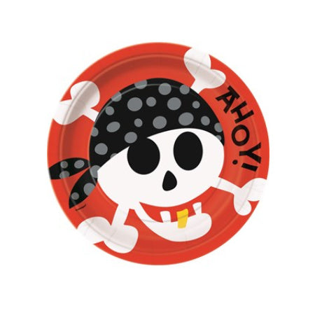 Cool Pirate Party I Red Skull & Crossbones I Large Paper Plates & Tableware I My Dream Party Shop I UK