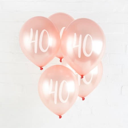40 Rose Gold Balloons I Modern 40th Birthday Party Supplies I My Dream Party Shop UK
