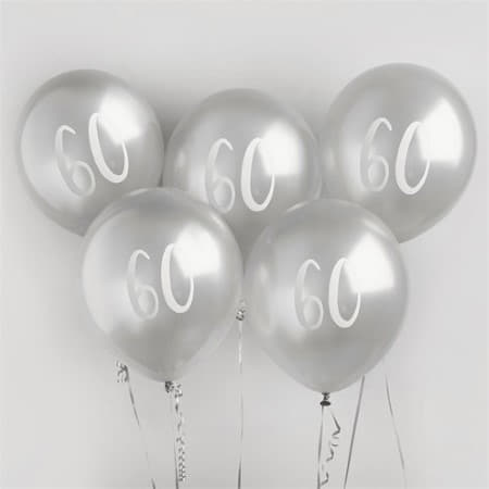 60 Silver Balloons I 60th Birthday Party Decorations I My Dream Party Shop UK
