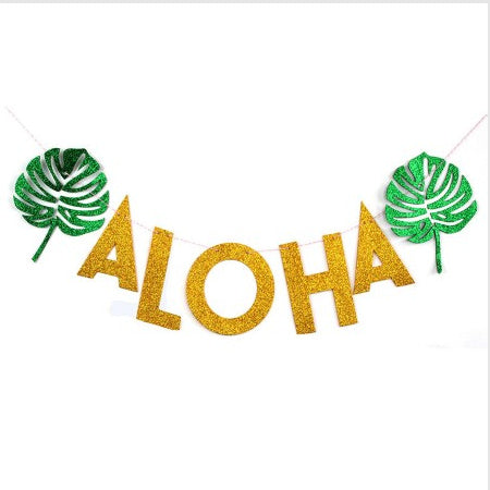 Gold Aloha Garland with Green Tropical Leaves I Hawaiian Party I My Dream Party Shop I UK