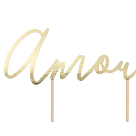 """Amour"" Gold Mirror Cake Topper I Engagement Cake Decoration I My Dream Party Shop I UK"