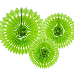 Apple Green Tissue Rosette Fans Set of Three I My Dream Party Shop I UK