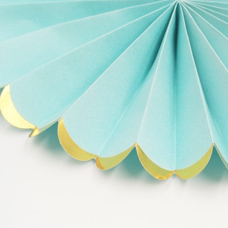 Luxe Pale Blue Tissue Rosette Fans with Gold Foil Border I Blue Party Decorations I My Dream Party Shop I UK