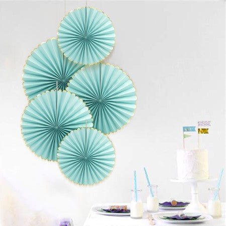 Luxe Pale Blue Tissue Rosette Fans with Gold Foil Border I Blue Decorations I My Dream Party Shop I UK