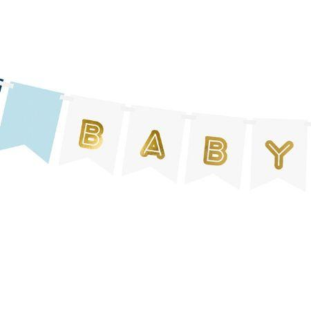 Baby Boy Banner Blue and Gold I Baby Boy Shower Decorations I My Dream Party Shop UK