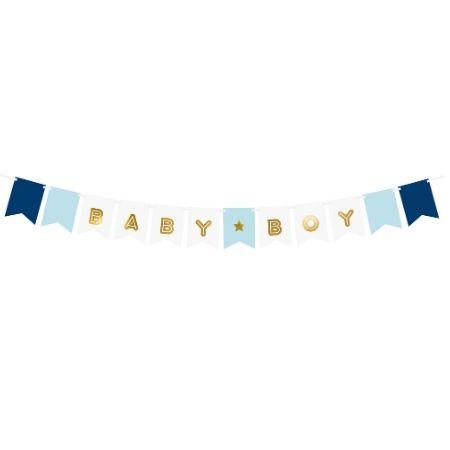 Baby Boy Banner Blue and Gold I Modern Baby Shower Decorations I My Dream Party Shop UK