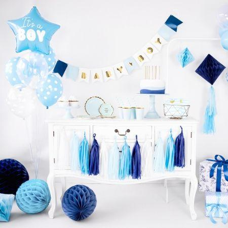 Baby Boy Garland Blue and Gold I Sophisticated Boy Baby Shower Decorations I My Dream Party Shop UK
