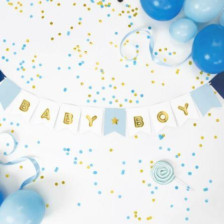 Baby Boy Banner Blue and Gold I Stylish Baby Shower Decorations I My Dream Party Shop UK