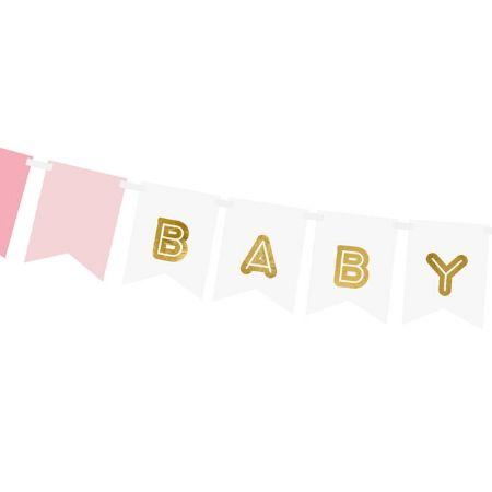 Baby Girl Banner Pink and Gold I Pink Baby Shower Decorations I My Dream Party Shop UK