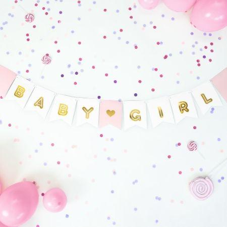 Baby Girl Banner Pink and Gold I Sophisticated Baby Shower Decorations I My Dream Party Shop UK