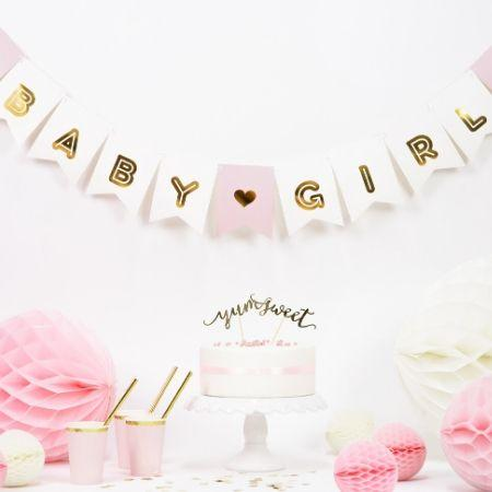 Baby Girl Banner Pink and Gold I Modern Baby Shower Decorations I My Dream Party Shop UK
