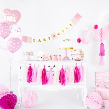 Baby Girl Banner Pink and Gold I Modern Baby Shower Themes I My Dream Party Shop UK