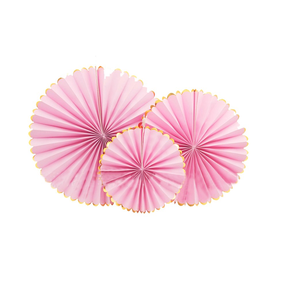 Pale Pink Tissue Rosette Fans with Gold Foil Border I Gorgeous Modern Decorations I My Dream Party Shop I UK