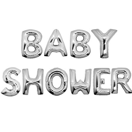 Baby Shower Silver Phrase Balloon Bunting I Baby Shower Decorations & Tableware I My Dream Party Shop I UK