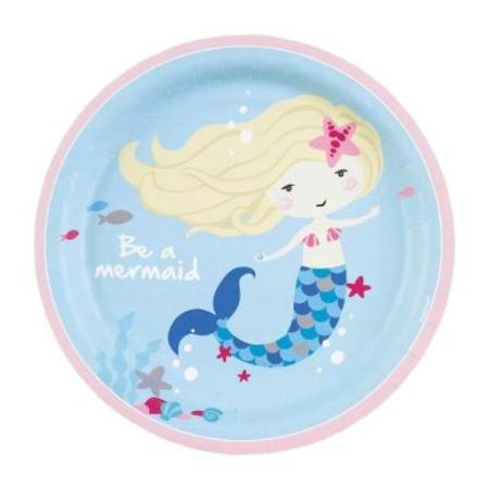 Mermaid Party - Be A Mermaid 23cm Paper Plates 8pk My Dream Party Shop