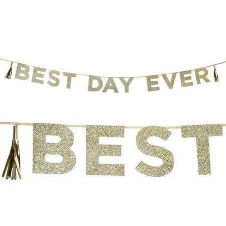 Gold Best Day Ever Garland I Modern Wedding Decorations I My Dream Party Shop I UK