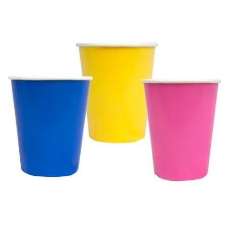 Birthday Brights Cups I Set of 12 Party Cups in Bright Blue, Yellow and Hot Pink I Talking Tables UK