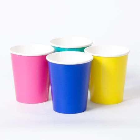Birthday Brights Cups I Set of 12 Party Cups in Blue, Yellow, Green and Hot Pink I Talking Tables UK